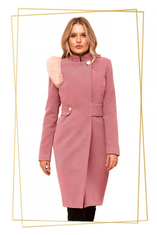 Palton elegant lung roz prafuit din stofa cu insertii cu blana
