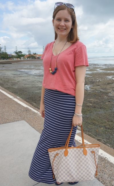 pink tee and navy stripe maxi skirt outfit SAHM summer style with louis vuitton neverfull MM damier azur | awayfromblue