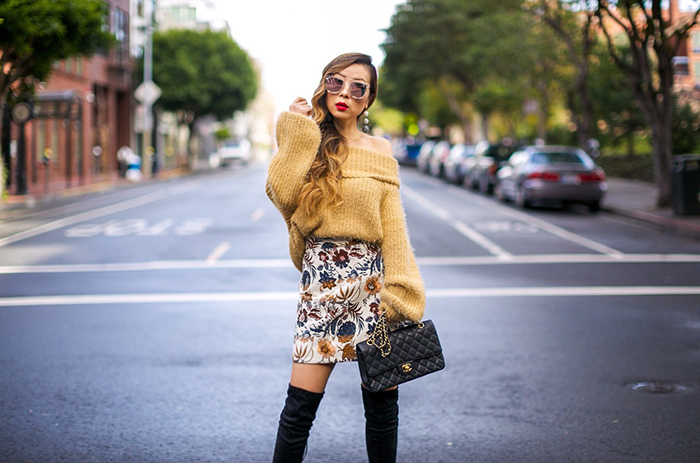 fuzzy off shoulder sweater, floral a line skirt, over the knee boots, chanel classic flap bag, quay sunglasses, baublebar earrings, winter outfit ideas, san francisco street style, san francisco fashion blog