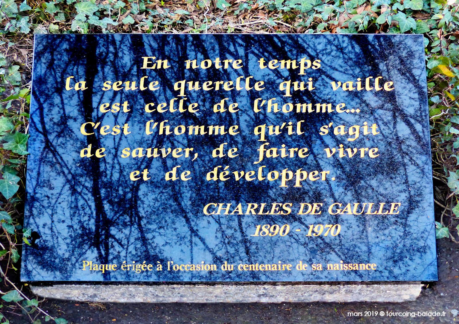 Inscription Plaque de Gaulle, Tourcoing 2019