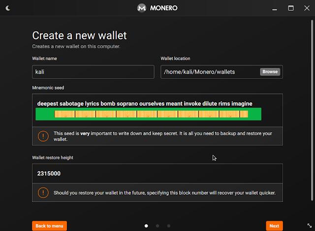 Monero wallet creation