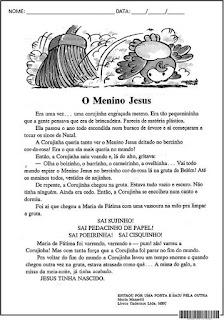 Texto O Menino Jesus com interpretação