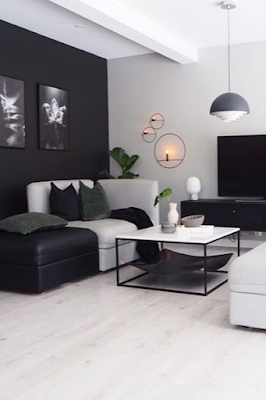 sala moderna nas cores preto e branco