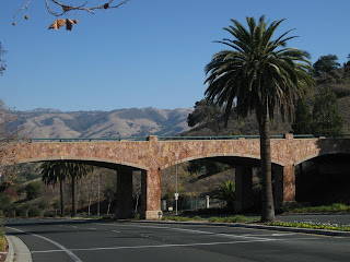 Stone bridge, palm tree, Mt. Hamilton in the distance