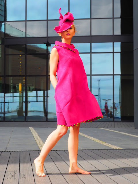 scuba, neoprene, dress, hat, millinery, beads, neon, magenta, peony, Vogue, pattern cutting, sewing pattern, Gdynia, Sea Towers, Poland,