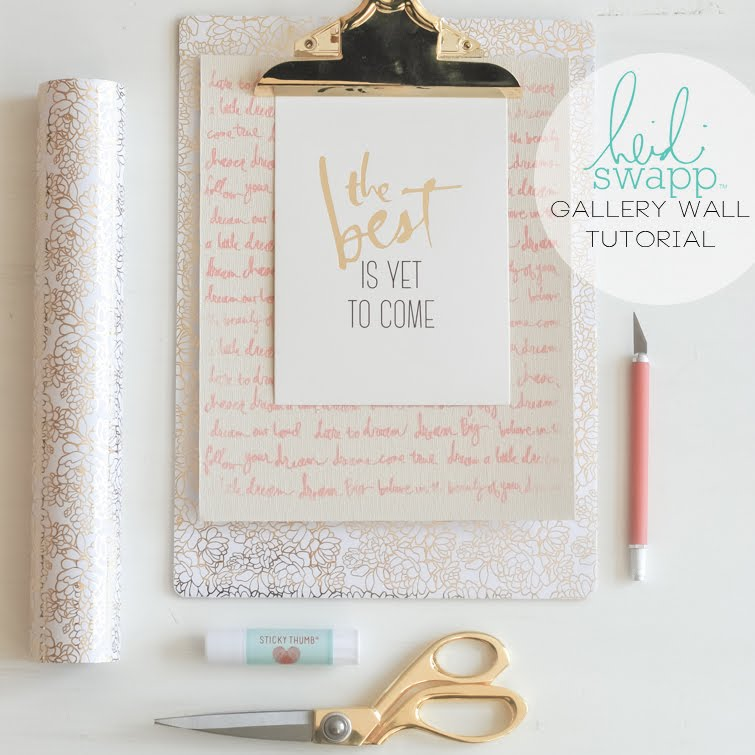 Heidi Swapp Gallery Wall Tutorial: How to cover gallery clipboard with pattern paper. | @jamiepate for @heidiswapp