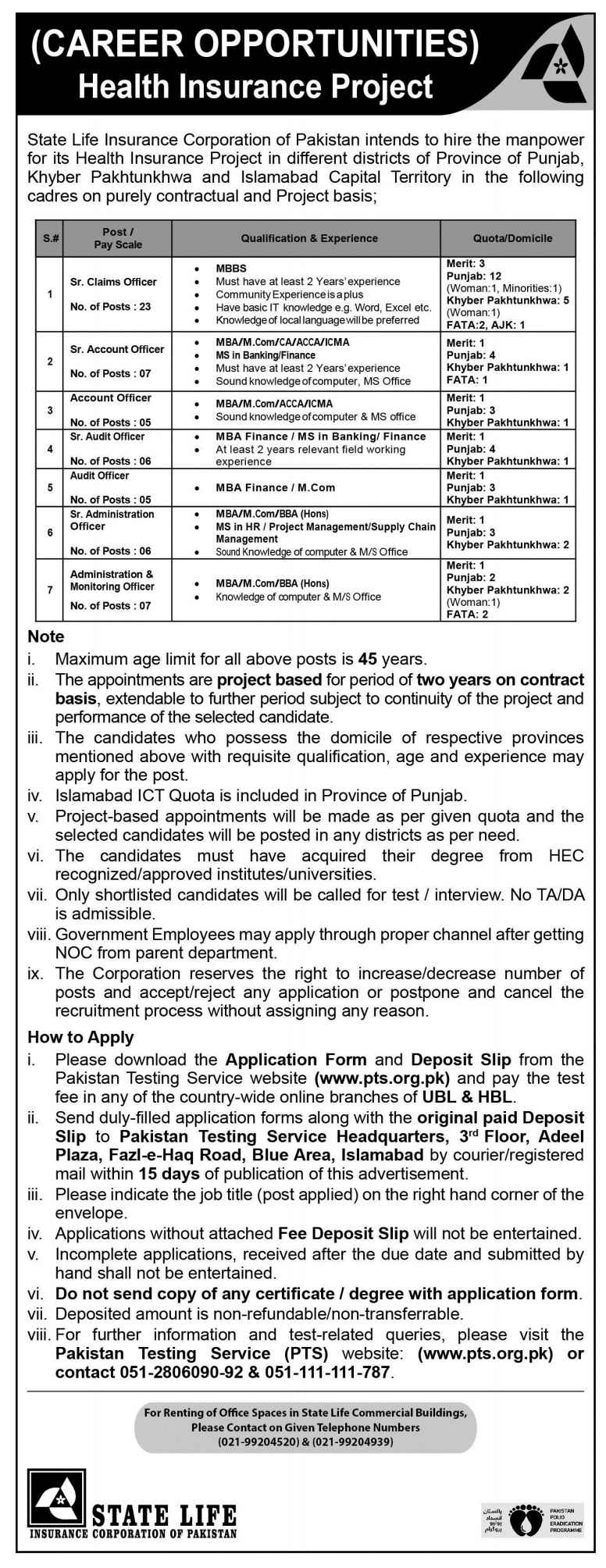 State Life Insurance Corporation of Pakistan Jobs via PTS | Multiple Positions