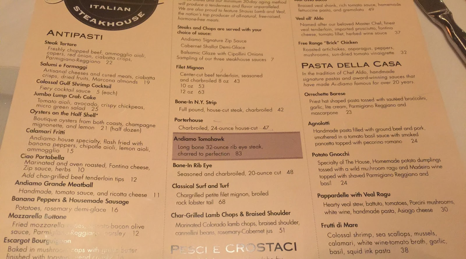 Prego Cucina Italiana Menu Taste Of Hawaii Andiamo Italian Steakhouse By Joe Vicari