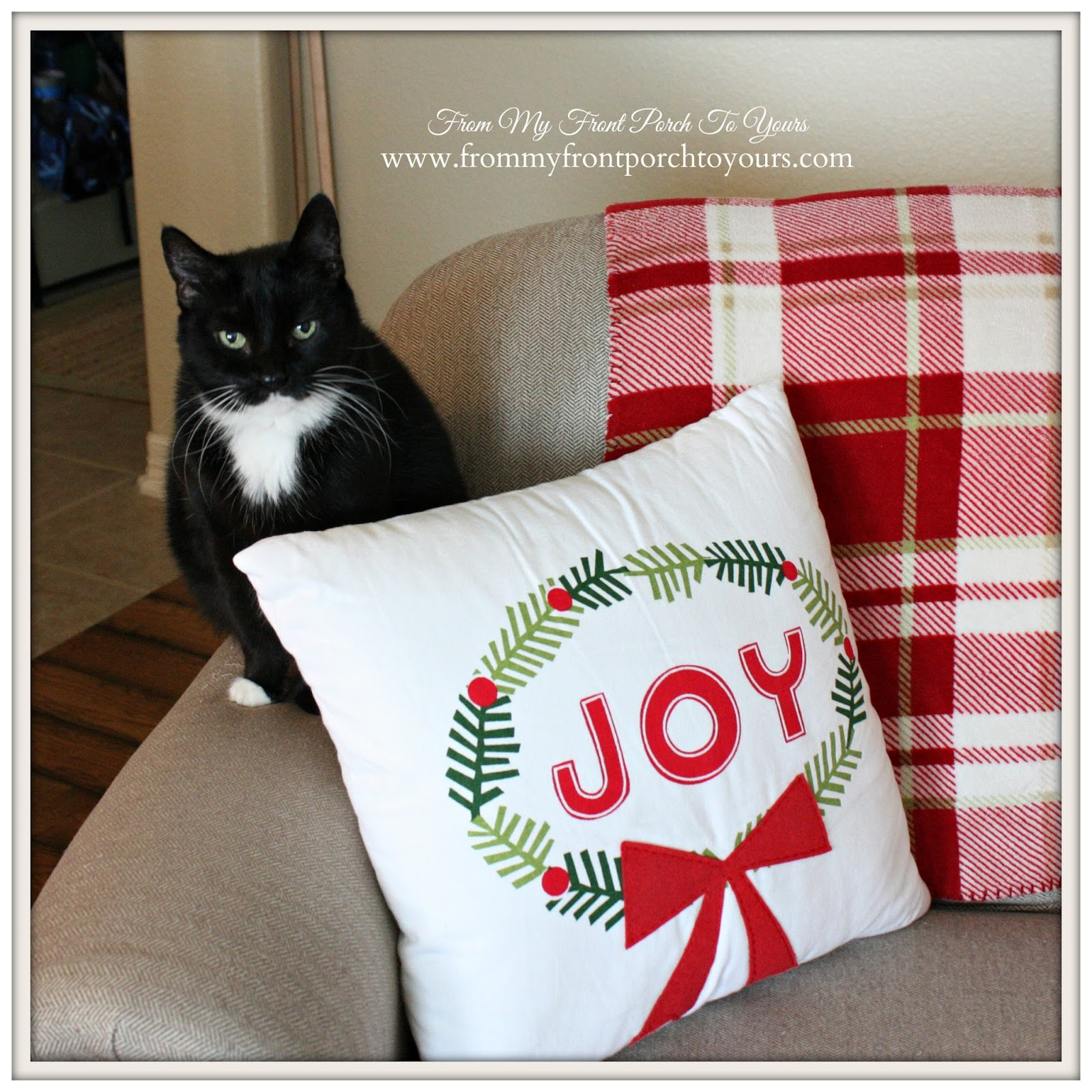 Joy- Pillow- Farmhouse -Vintage -Christmas -Living Room-Christmas Kitty- From My Front Porch To Yours