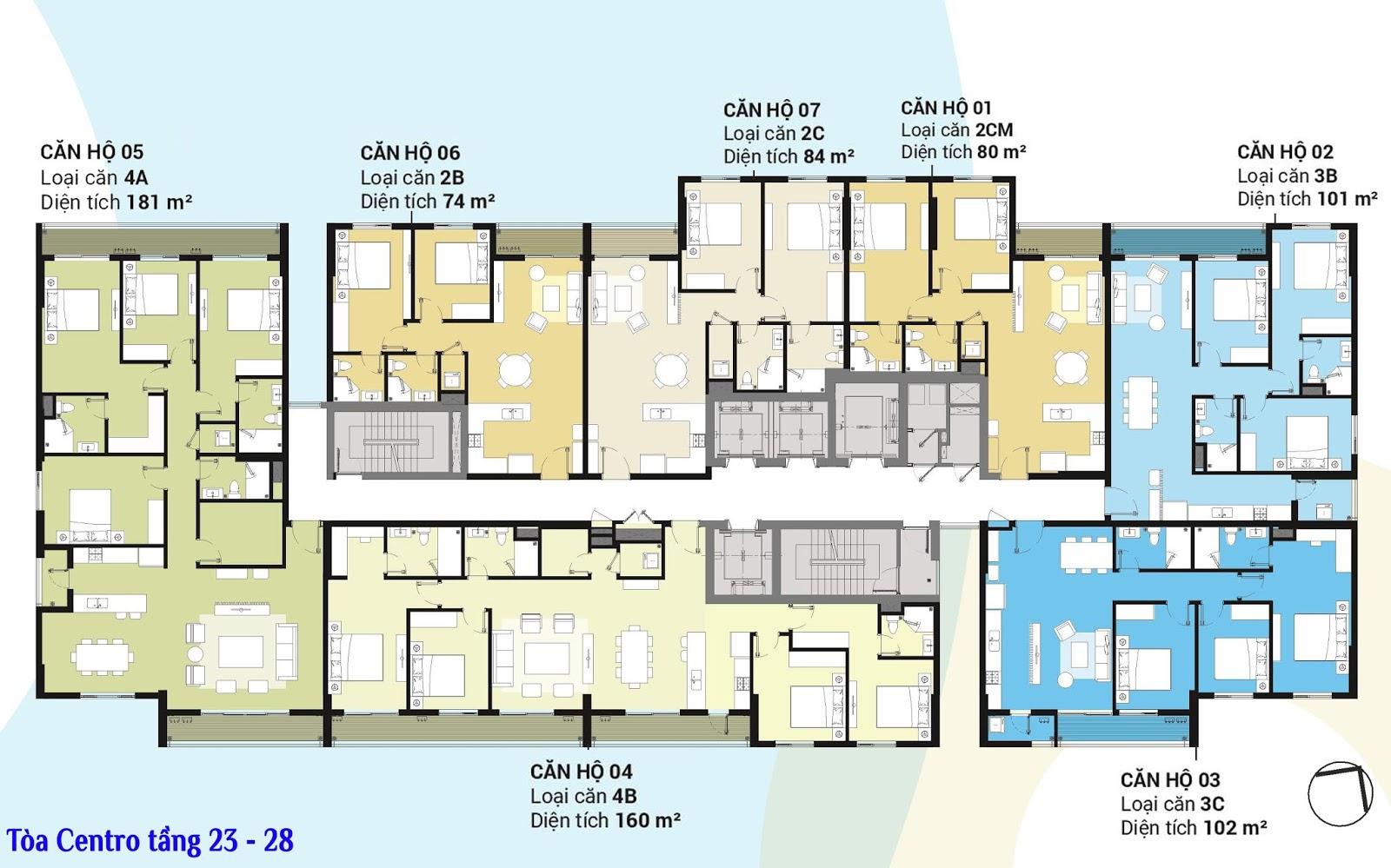 Mặt bằng tầng 23 - 28 tòa Centro dự án Kosmo Tây Hồ