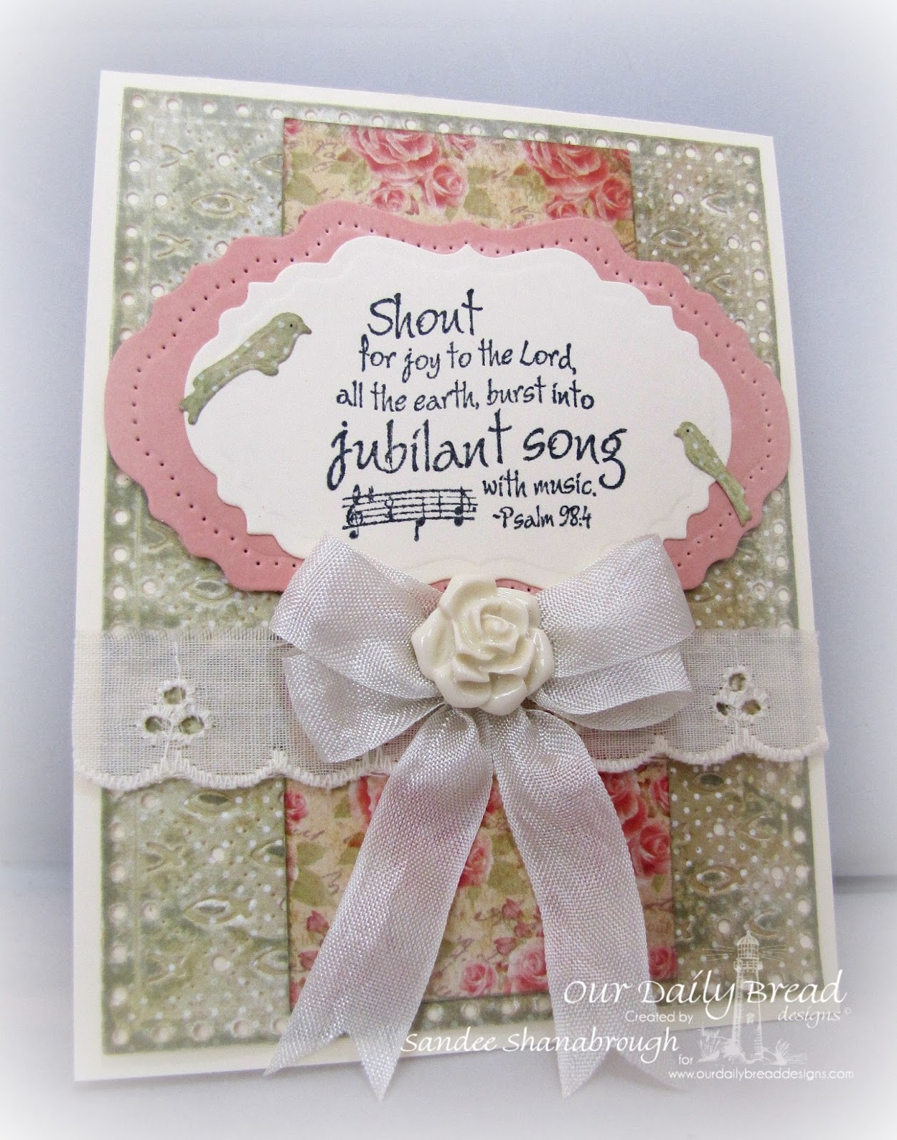 Stamps - Music Speaks, ODBD Custom Faithful Fish Die and Debossing Plate, ODBD Custom Birdcage and Banners Die, ODBD Custom Vintage Flourish Pattern Die, ODBD Custom Vintage Labels Die, ODBD Blushing Rose Paper Collection