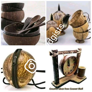 UNBELIEVABLE: Nigerian Man Made Kitchen Utensils And Handbags Using Coconut Shell - PHOTOS