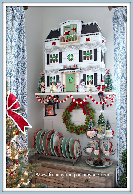 Christmas Farmhouse Cottage -Breakfast -Nook-Hearth & Hand Doll- House-Pioneer-Woman-Dinnerware- From My Front Porch To Yours