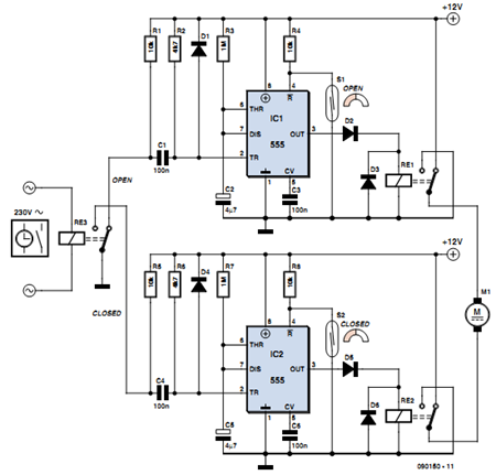 Automatic Curtain Opener Circuit Diagram