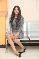 Actress Chandini Chowdary Pos in Short Dress at Howrah Bridge Movie Press Meet  0163.JPG