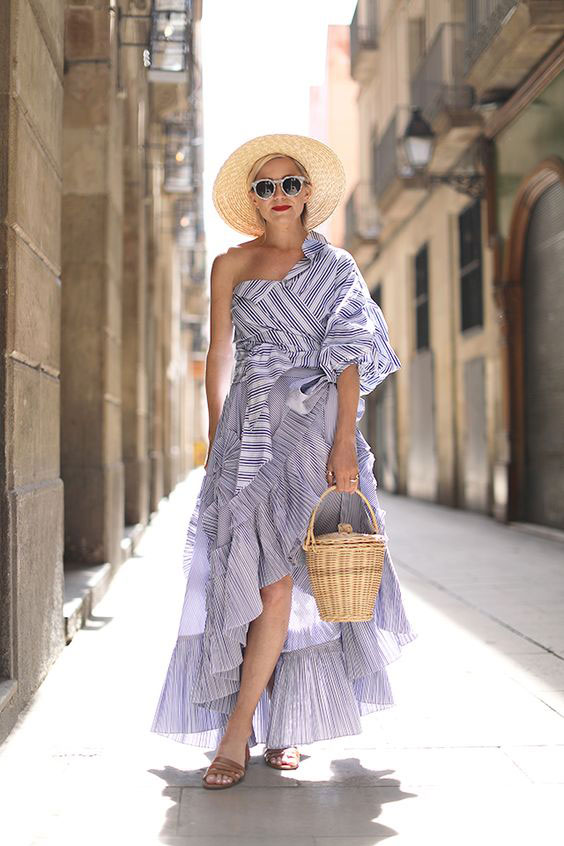 beautiful outfit idea one shoulder stripe wrap top and ruffle skirt