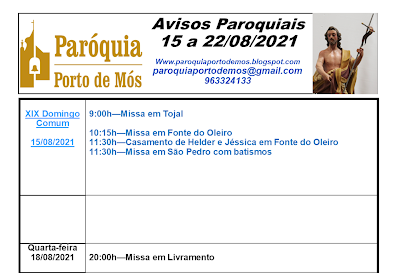Avisos Paroquiais - 15 a 22 de Agosto de 2021