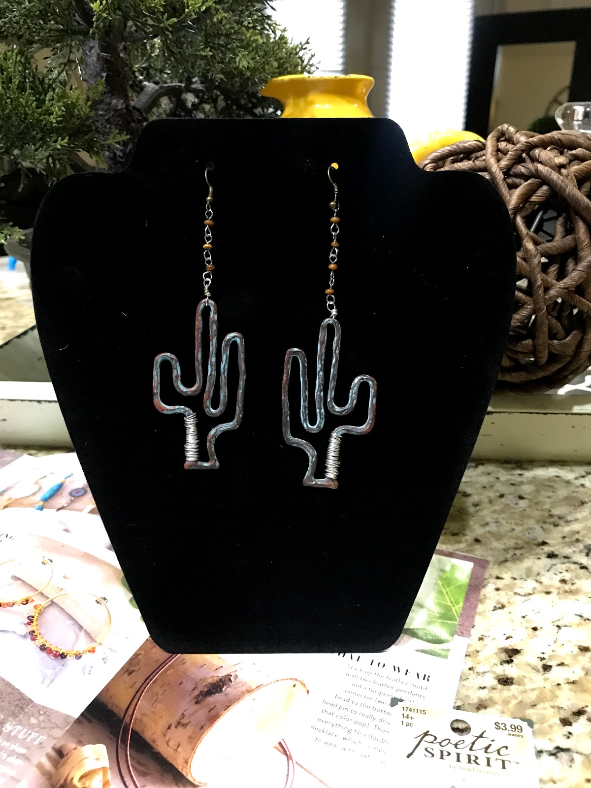 The complete cactus earring look made with poetic spirit components