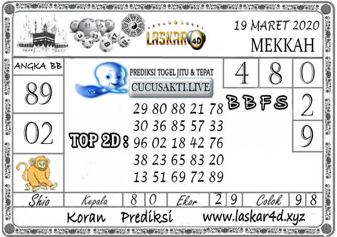 Prediksi Togel MEKKAH LASKAR4D 19 MARET 2020