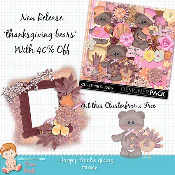 Thanksgiving Bears Digital Scrapbooking Kit