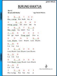 Not Angka Lagu Burung Kakatua