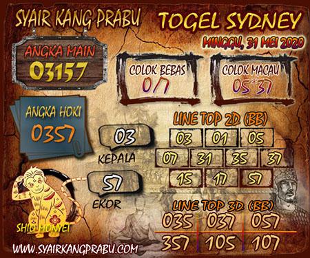 Prediksi Togel Sydney Minggu 31 Mei 2020 - Syair Kang Prabu