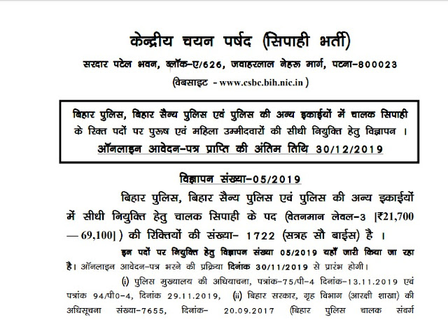 Bihar Police Constable Recruitment Notification PDF Form