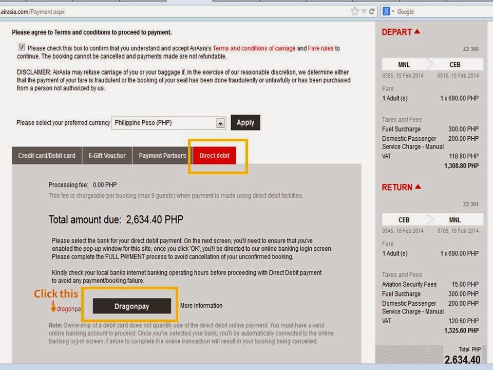 How to Pay Air-Asia Online via Globe GCash?