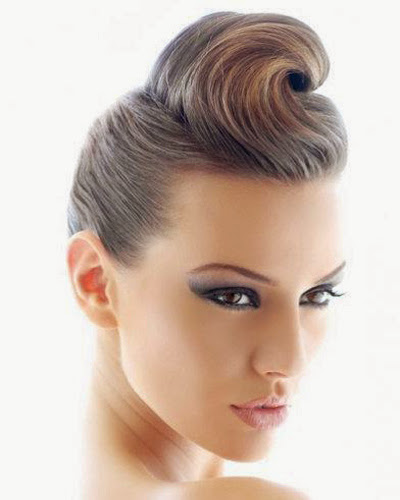 Pompadour hairstyle for brown haired girls