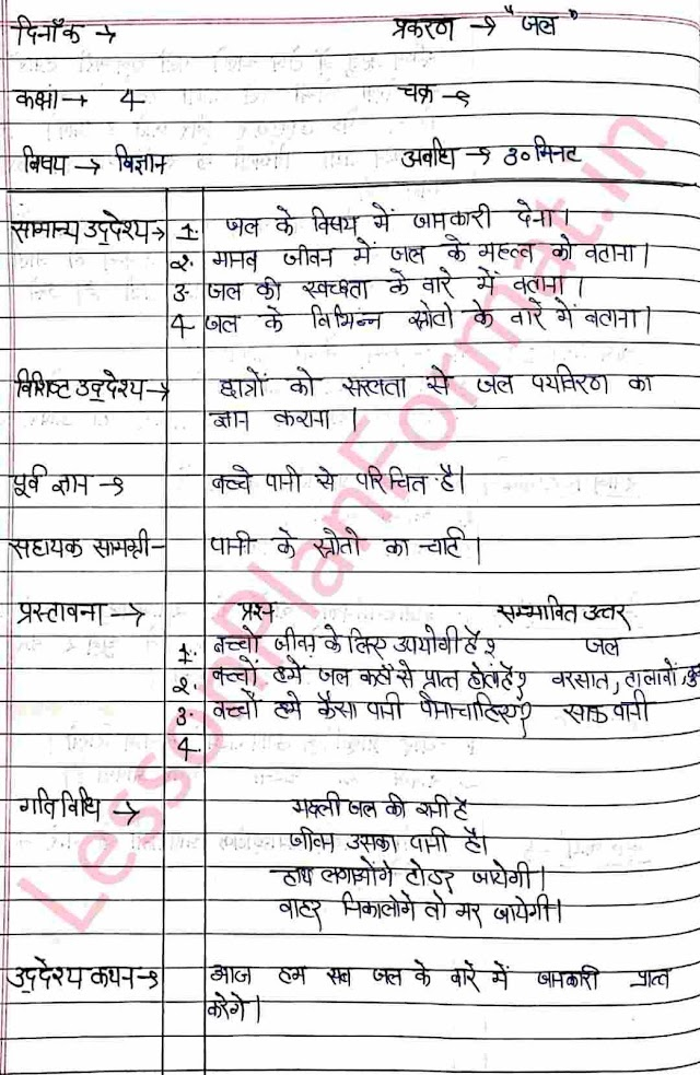 Science Lesson Plan Of Water in Hindi | B.ed-deled