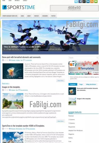 Blogger Geniş Slider Alanlı Ücretsiz Mobil Uyumlu Tema İndir 2020 Sportstime
