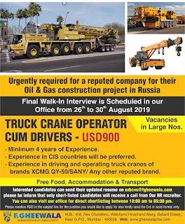 Truck Crane Operator cum Drivers for Russia