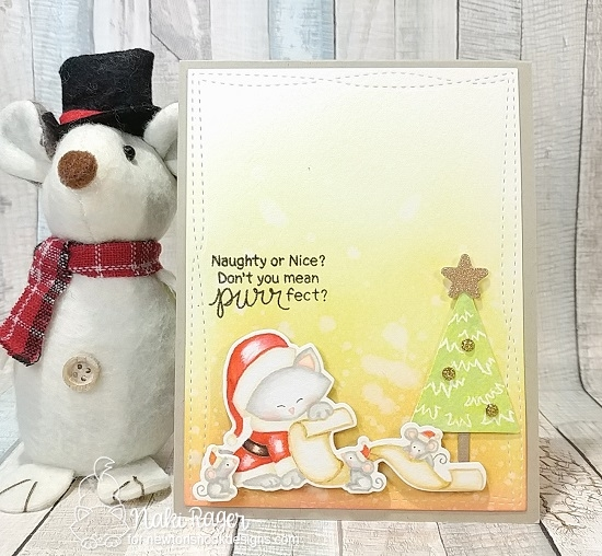 Santa Cat Christmas Card by Naki Rager | Santa Paws Newton Stamp Set by Newton's Nook Designs #newtonsnook #handmade