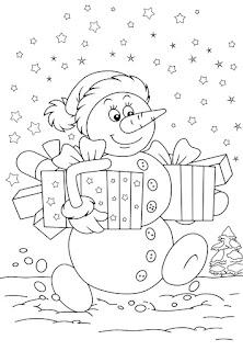 דף צביעה איש שלג מחזיק מתנות