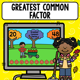 Greatest common factor game for finding the gcf of 2 numbers in such a fun way! Kids can play this cute game on a computer or tablet as many times as you want them to!