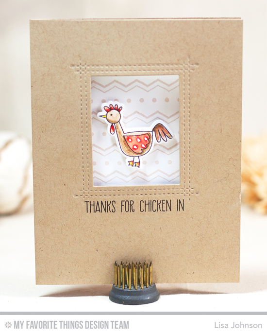 Chicken In Card by Lisa Johnson featuring the Farm-tastic stamp set and Die-namics and the Lisa Johnson Designs Rectangle Peek-a-Boo Window Die-namics #mftstamps