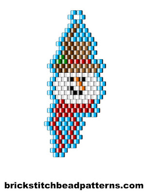 Click for a larger image of the Snow Man Smiling brick stitch bead pattern chart.