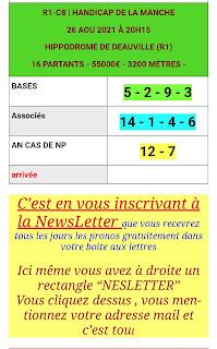 Pronostics quinté+ pmu jeudi Paris-Turf-100 % 26/08/2021