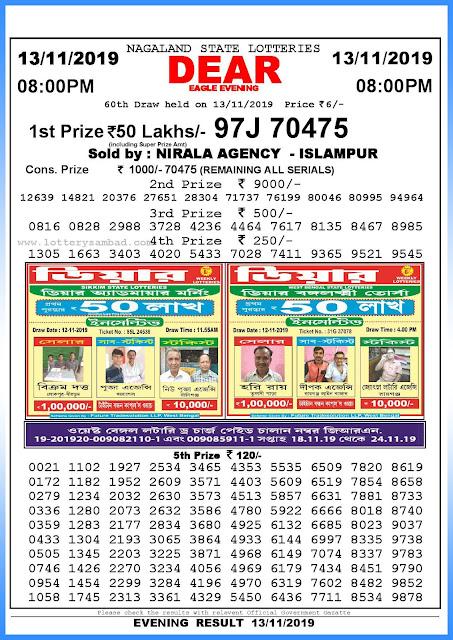 Lottery sambad 13-11-2019 Nagaland State Lottery Result 08.00 PM-sambadlottery.org