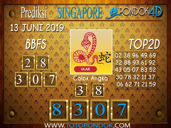 Prediksi Togel SINGAPORE PONDOK4D 13 JUNI 2019