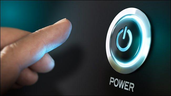 زر الطاقة بالضغط على الإصبع.