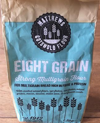 A bag of Matthews Eight Grain Flour