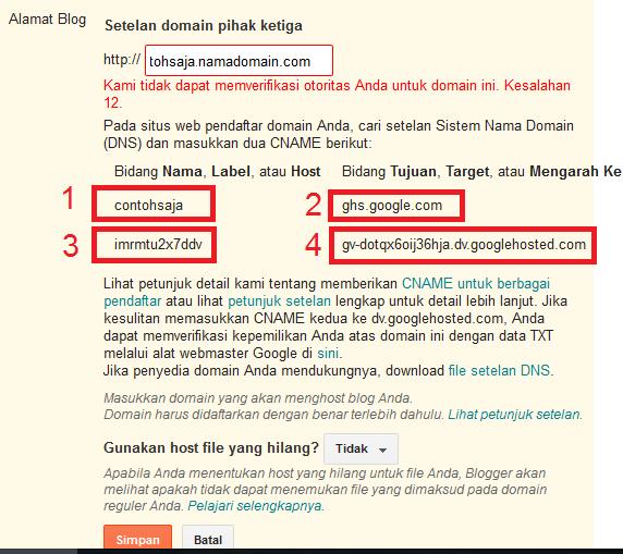 pemberitahuan bahwa blogspot tidak bisa melakukan verifikasi
