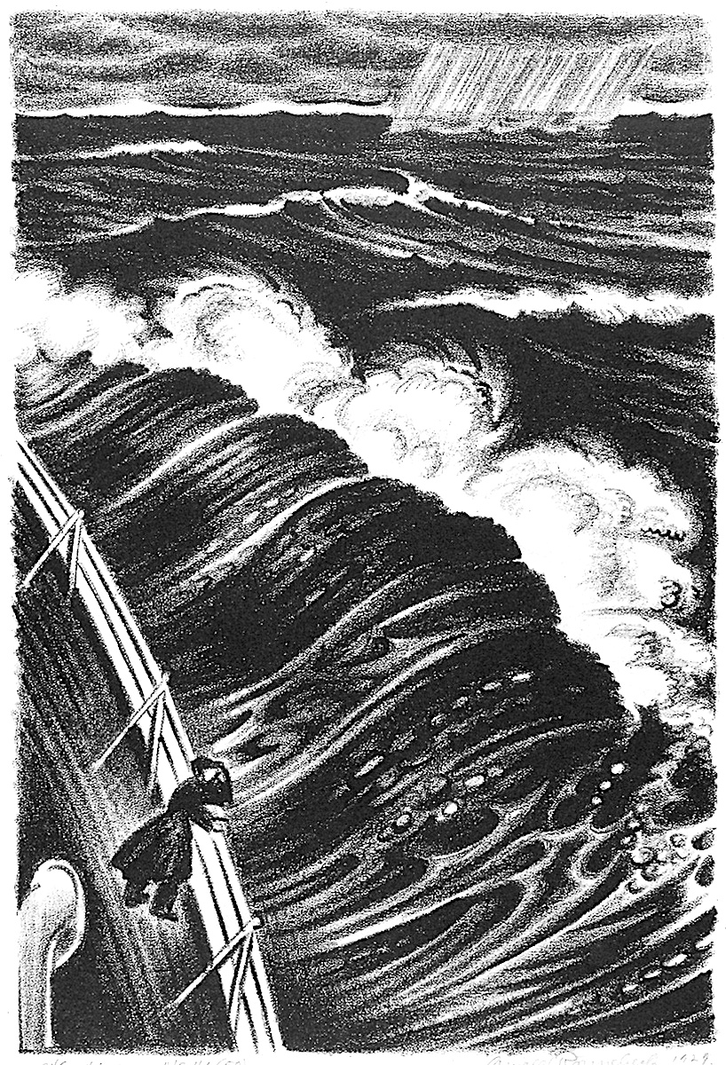Arnold Ronnebeck stormy sea, a ship in heavy weather
