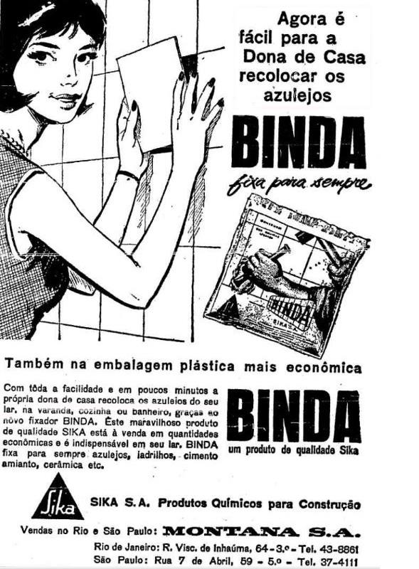 Propaganda de fixador de azulejo com foco no público feminino apresentado na metade dos anos 60