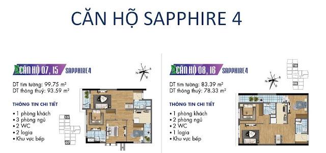Căn hộ số 07, 08, 15, 16 tòa Sapphire 4- Goldmark City