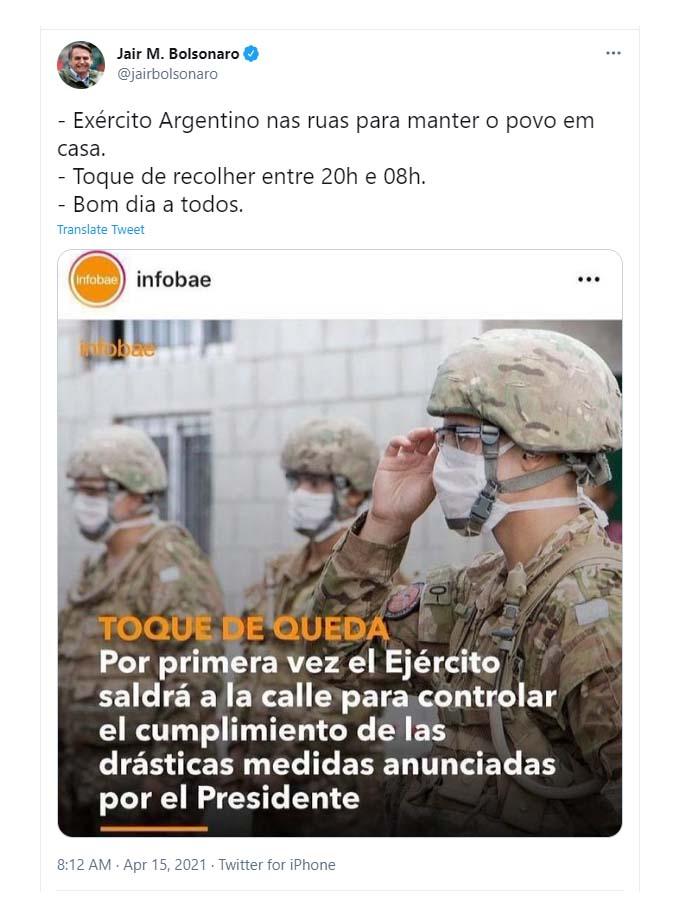 """Jair Bolsonaro habló sobre el toque de queda en la Argentina: """"El Ejército en las calles para mantener al pueblo en casa"""""""