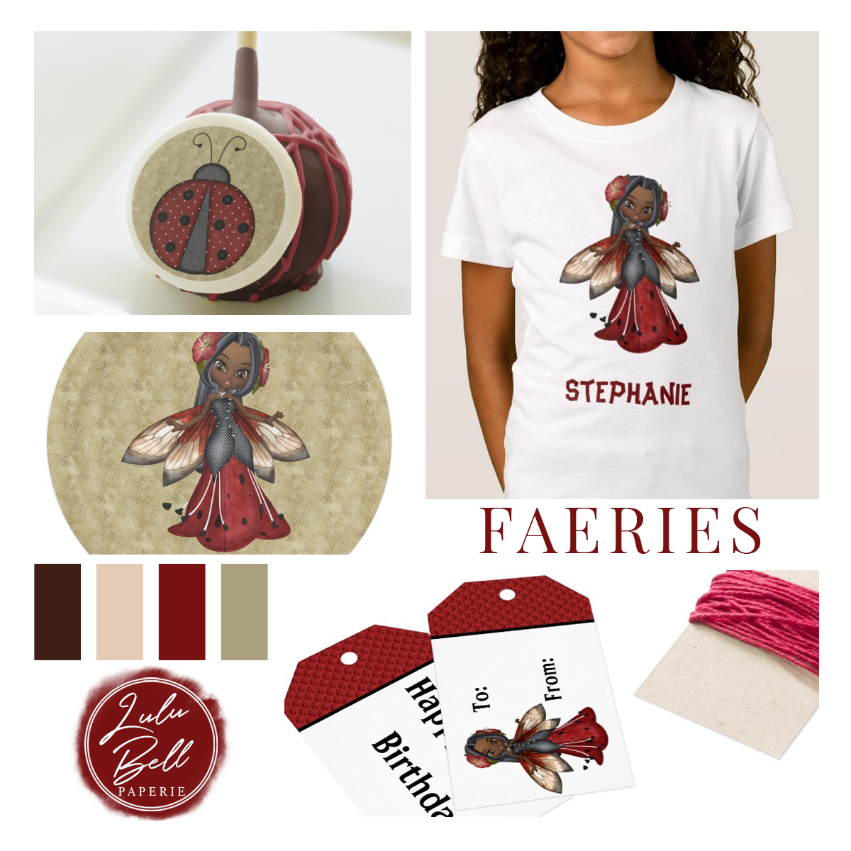African American ladybug fairy girl's birthday party suite. Personalized apparel, invites, party decor, treats and apparel. In a red black and tan color palette.