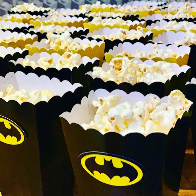Batman themed popcorn boxes at Warner Bros press event