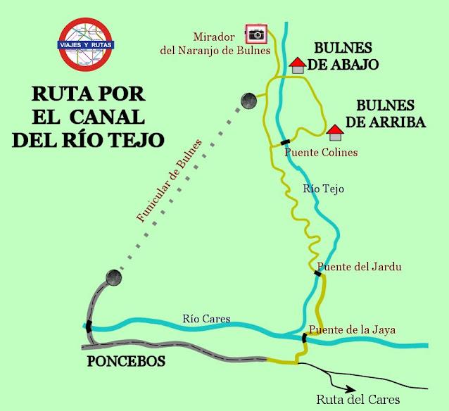 Mapa de la Subida a Bulnes por la Canal del Tejo.